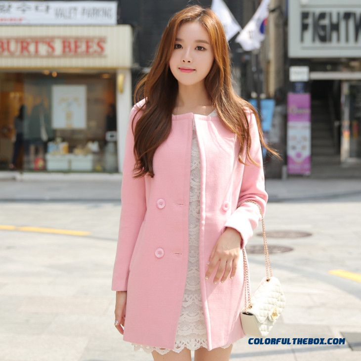 2015 New Winter Fashion High Quality Ladies Women's Woolen Coat Pink Vogue