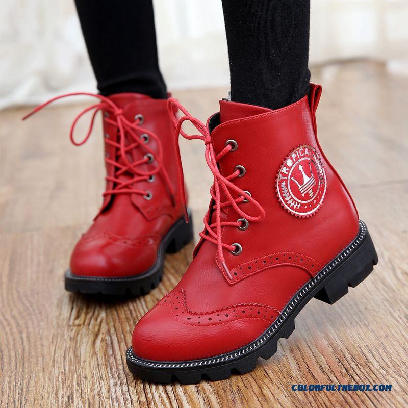2015 New Winter Kid's Shoes Martin Boots British Fashion Girls Lace Free Shipping Shoes