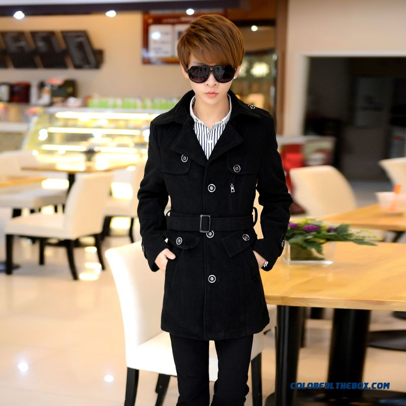2015 New Winter Men's Single-breasted Woolen Coat Slim Young Medium Style