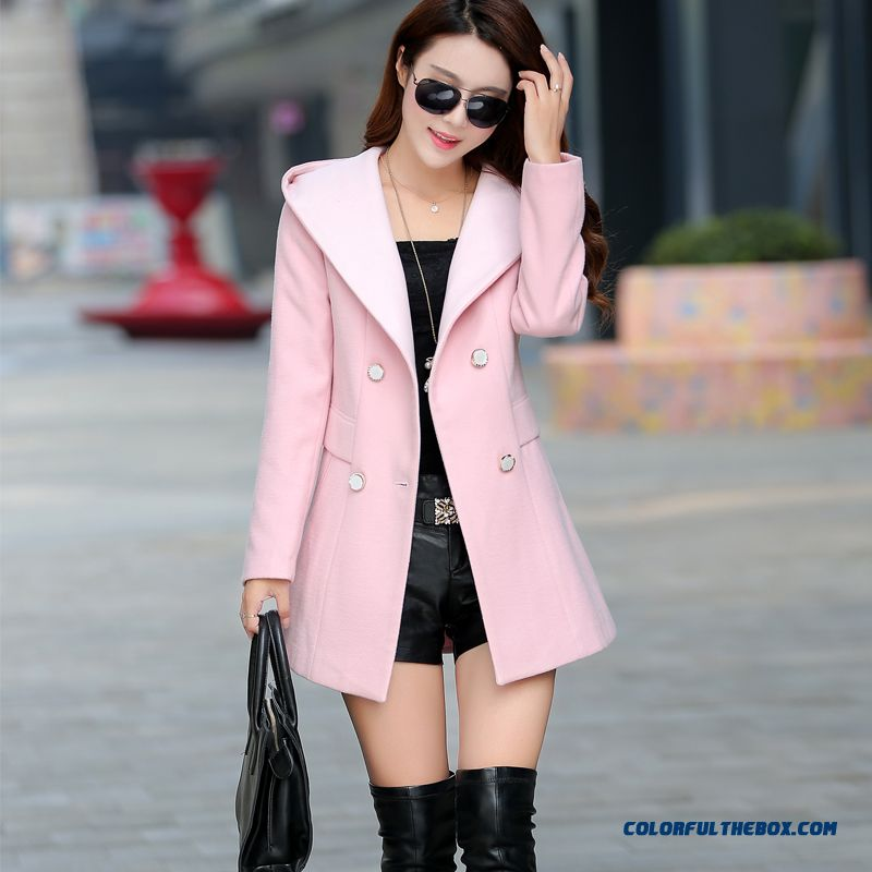 2015 New Winter Slim Thin Fashion Women's Hooded Wool Double-sided Woolen Coat