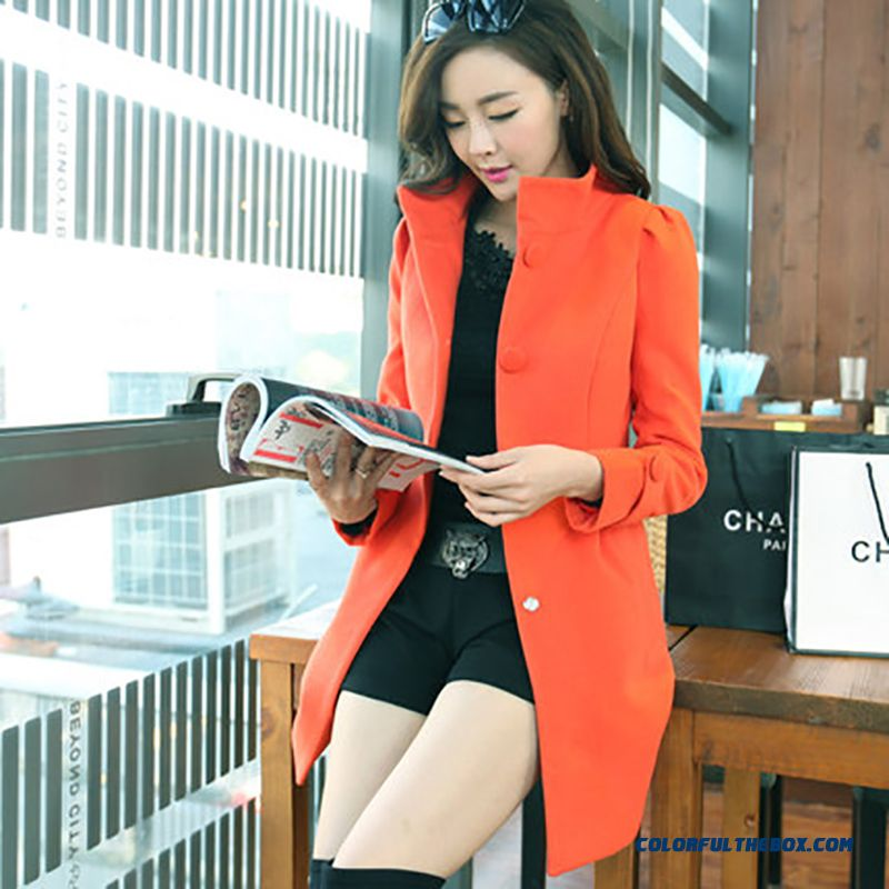2015 New Winter Woolen Coat Women Medium Style Solid Color Stand Collar Long-sleeved Thick