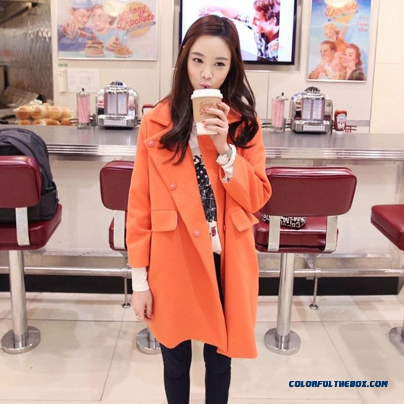2015 New Women's Casual Winter Medium Style Woolen Jacket Plus Cotton Thickening Loose