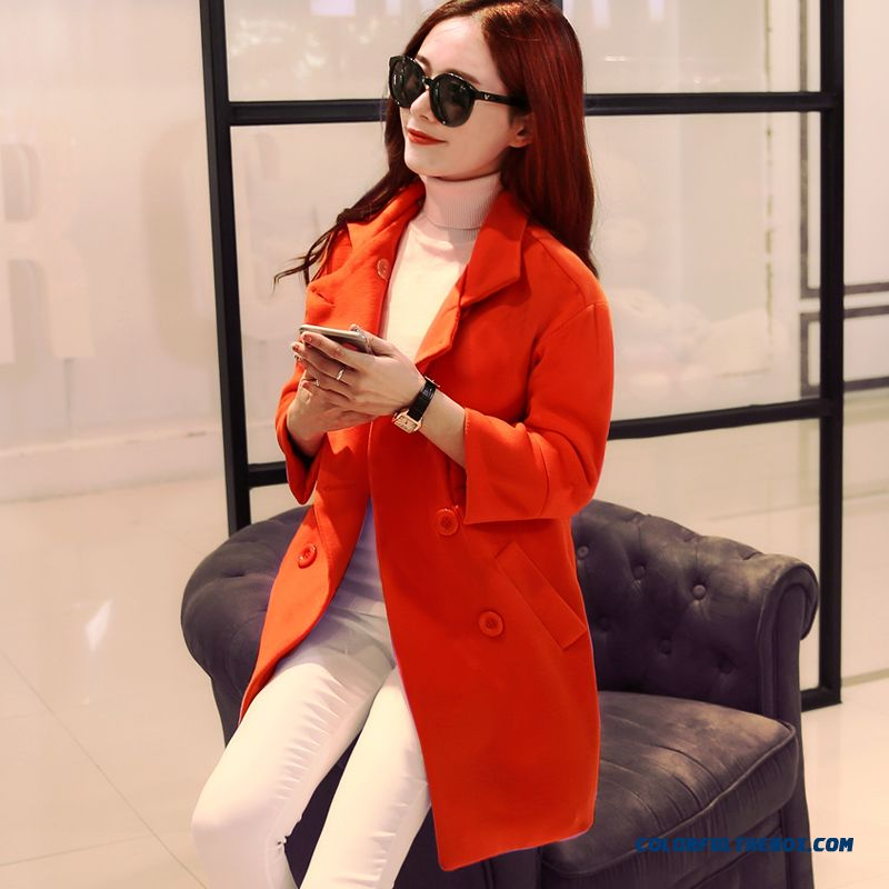 2015 New Woolen Coat Girls Long Korean Version Of Slim Woolen Coat Slim Orange