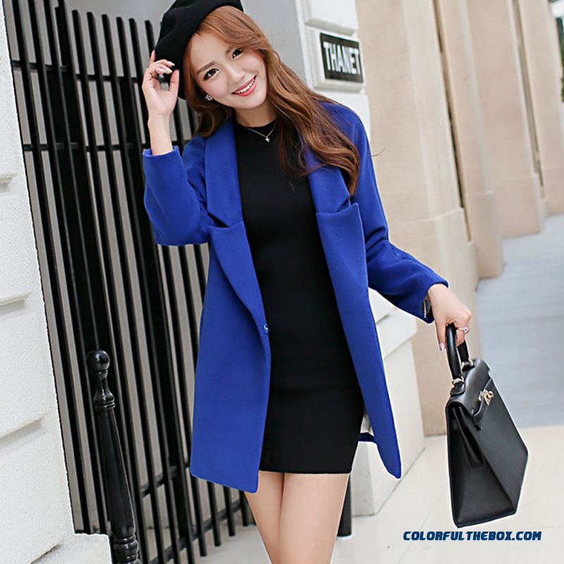 2015 Slim Style Winter Women's New Blue Woolen Coats Free Shipping