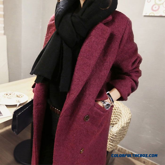 2015 Slim Style Winter Women's New Double-breasted Red Medium Style Woolen Coats
