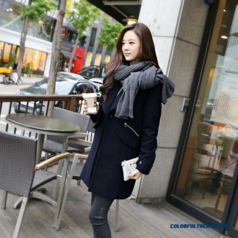2015 Slim Style Winter Women's New Loose Thicken Long Sleeve Woolen Coats