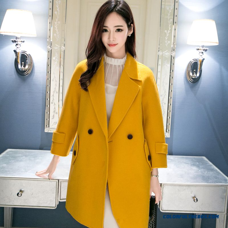 2015 Slim Style Winter Women's New Yellow Casual Medium Style Fashion Woolen Coats