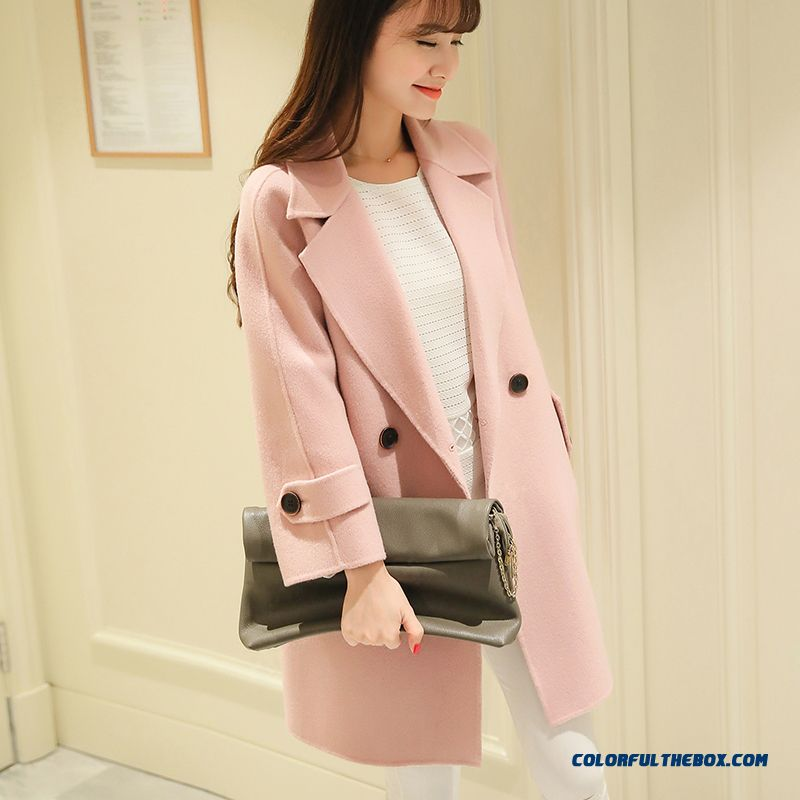 2015 Slim Style Winter Women's Woolen Coats Pink Medium Style Warm Young