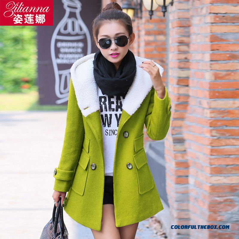 2015 Spring Women Slim Plus Cotton Double-breasted Thick Warm Woolen Coat