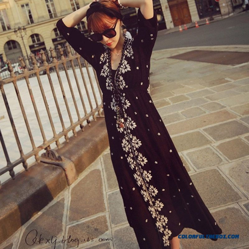 2015 Summer New Women Dress National Wind Embroidery Short Sleeve Lomg