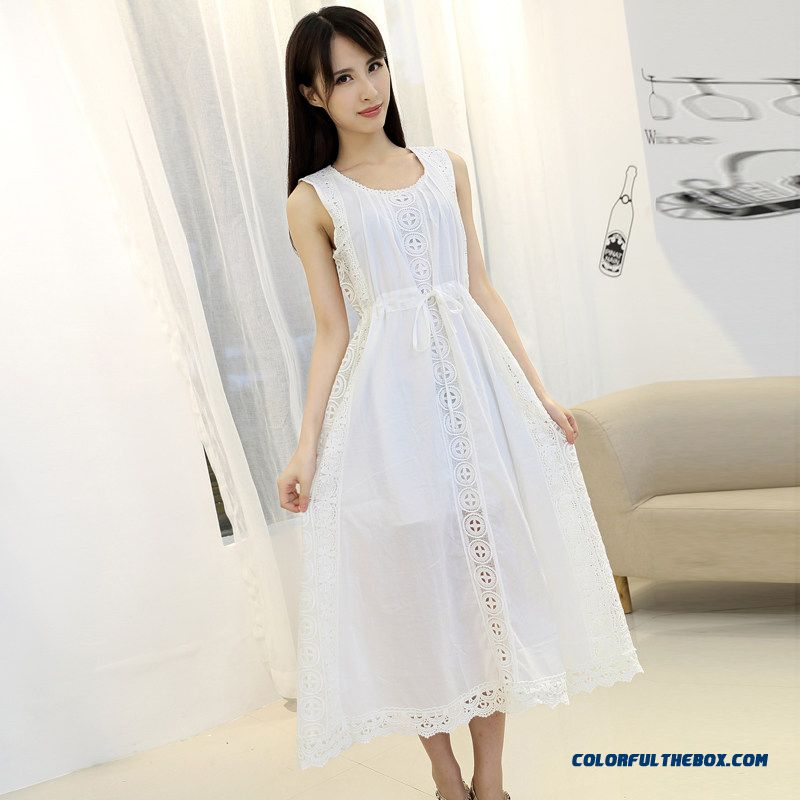 2015 Summer New Women Dress Openwork Shaped Waisted Large Size White