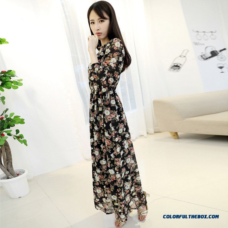 2015 Summer New Women's Long-sleeved Floral Chiffon Dress