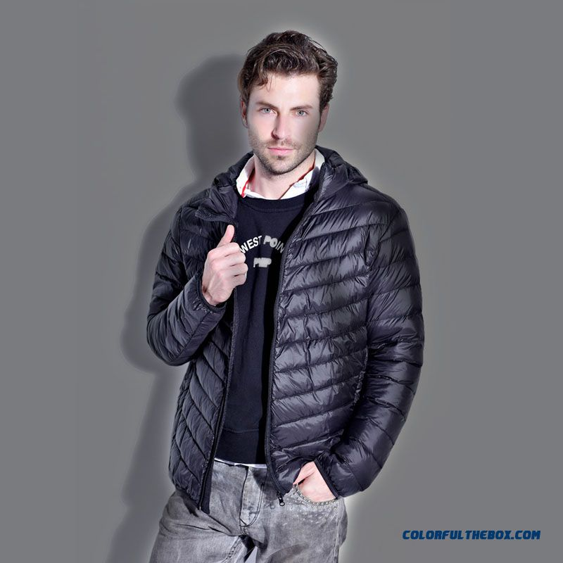 2015 Thin Hooded Down Jacket Men Short Large Size Slim Tide New Free Shipping