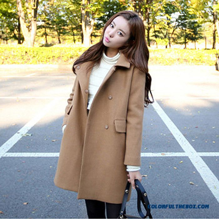 2015 Winter And Autumn New Large Size Women's Medium Style Woolen Coat Tide