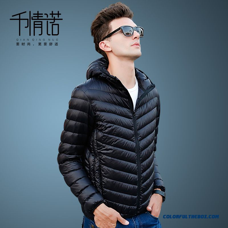 2015 Winter Brand Fashion Men Thin Slim Hooded Coats Black Free Shipping