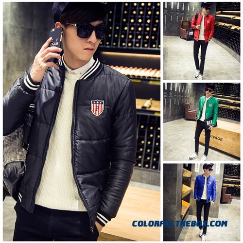 2015 Winter Hot Selling Slim Crew Neck Short Thick Padded Coat Male Down Jacket