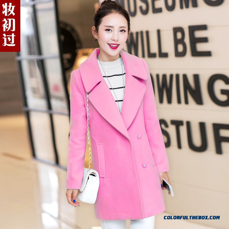 2015 Winter New Fashion Women Woolen Coat Coat Girls Long Slim Thin Tide