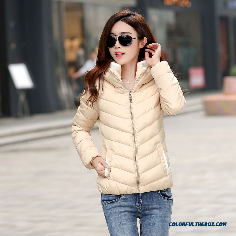 2015 Winter New Fashion Women's Hooded Coats Extra Large Slim Beige Black