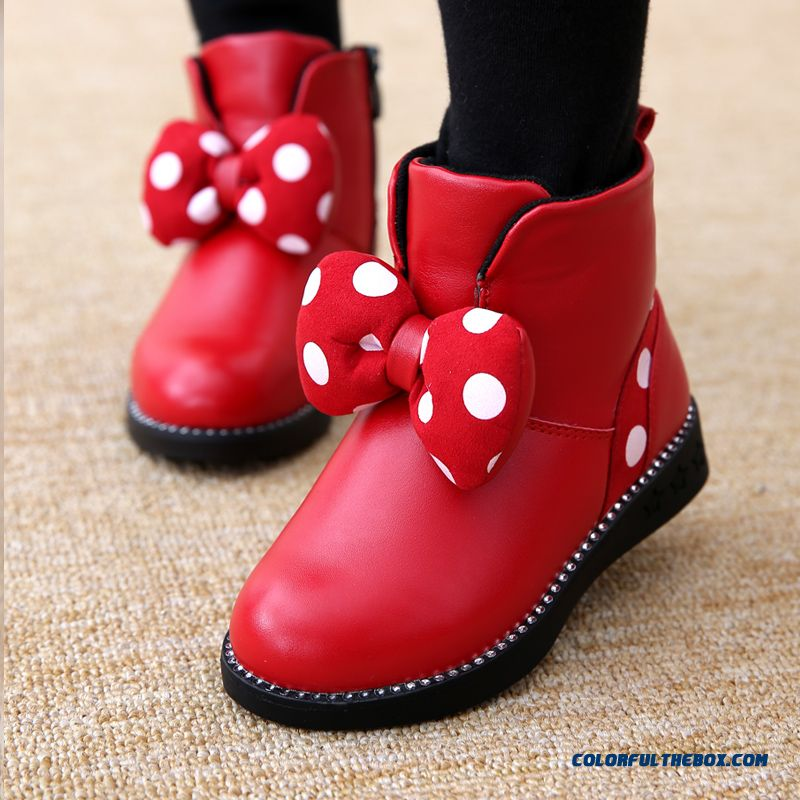 2015 Winter New Girls Short Cotton Korean Tide Dot Bownot Kids Boots