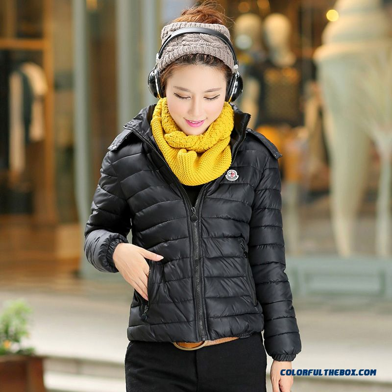 2015 Winter New Korean Version Of Removable Cap Thick Slim Short Yellow Jacket