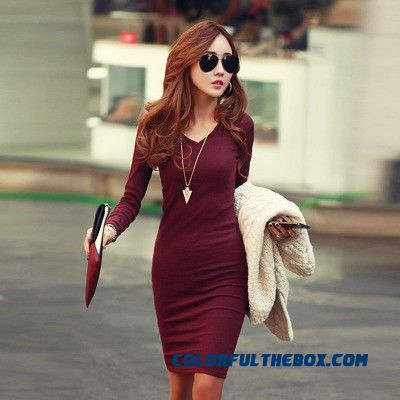 2015 Winter New Large Size V-neck Dress Long-sleeved Women Dress Elegant