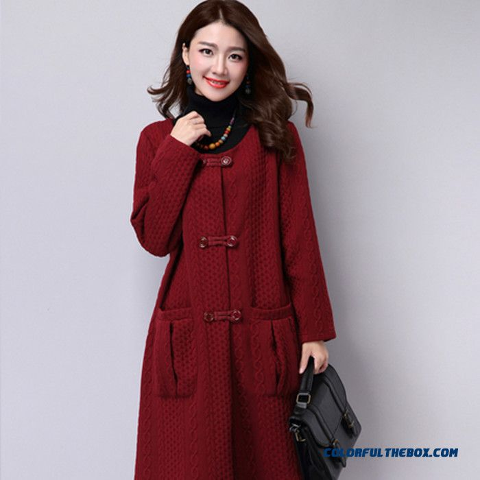 2015 Winter New Large Size Women Loose Cardigan Thick Double-breasted Long Coat