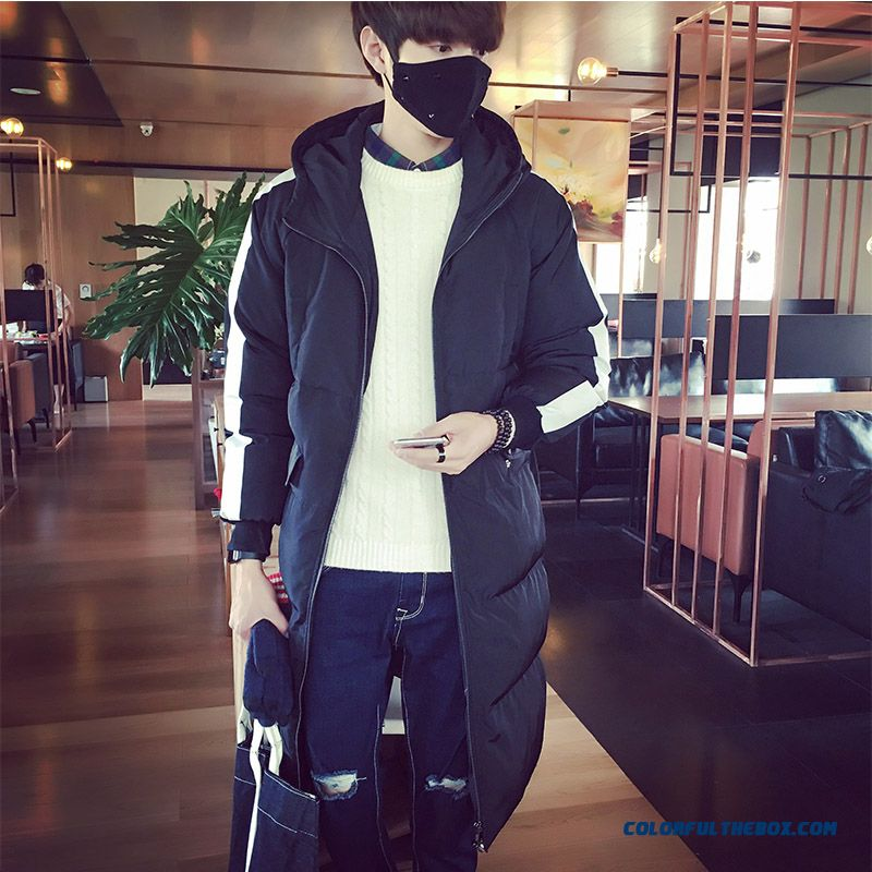 2015 Winter New Men's Hooded Long Loose Printing Cotton Padded Jacket