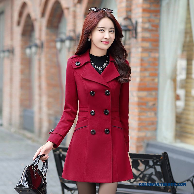 2015 Winter New Slim Double-breasted Women Wool Coat Long Sections Ladies