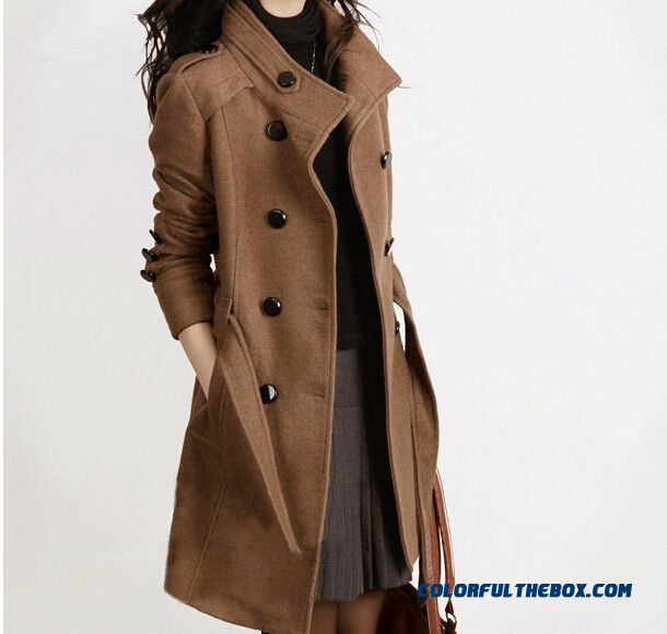 2015 Winter New Women Woolen Coat Long Double-breasted Large Size Wool Coat
