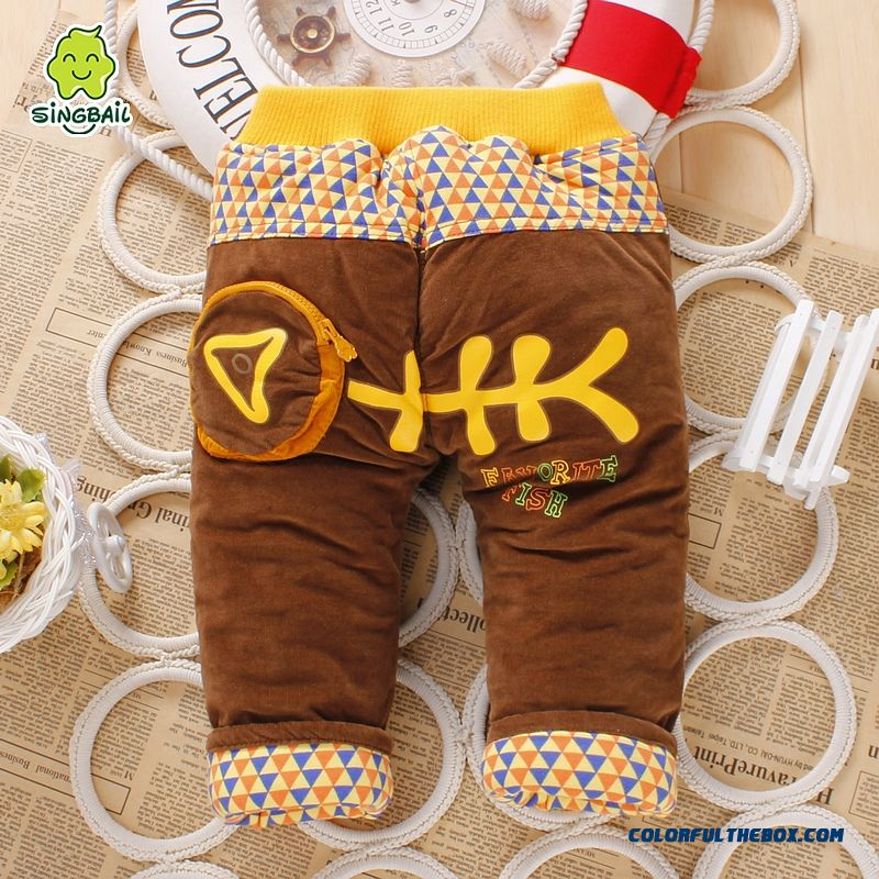 2016 Best Creative Design Singbail Winter Plus Thick Velvet Baby Boys And Girls Long Pants For Kids