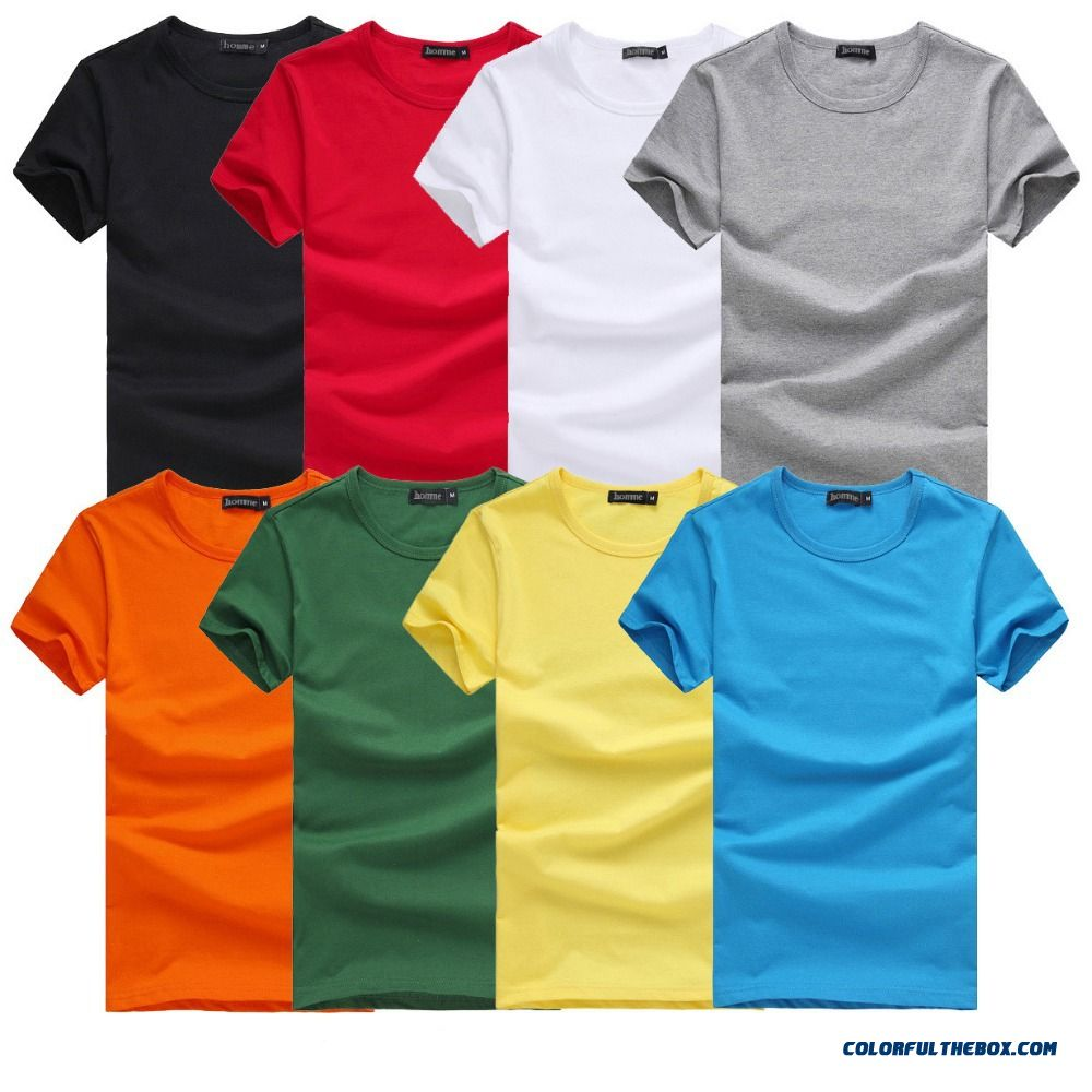 2016 Free Shipping New Slim Dark Green Red Orange Blue Gray Black White T Shirts Slim Fit Short Sleeve T-shirt 6 Size S-xxxl