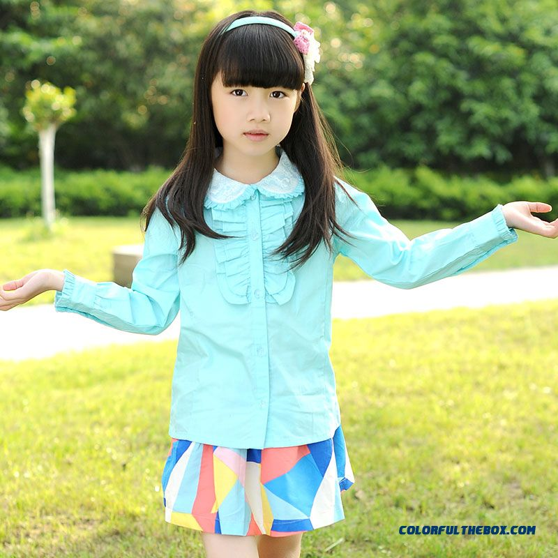 2016 Kids Jacket Korean Stylr Design For Girls Quality Cotton Kids Long-sleeved Shirt Lapel Shirt