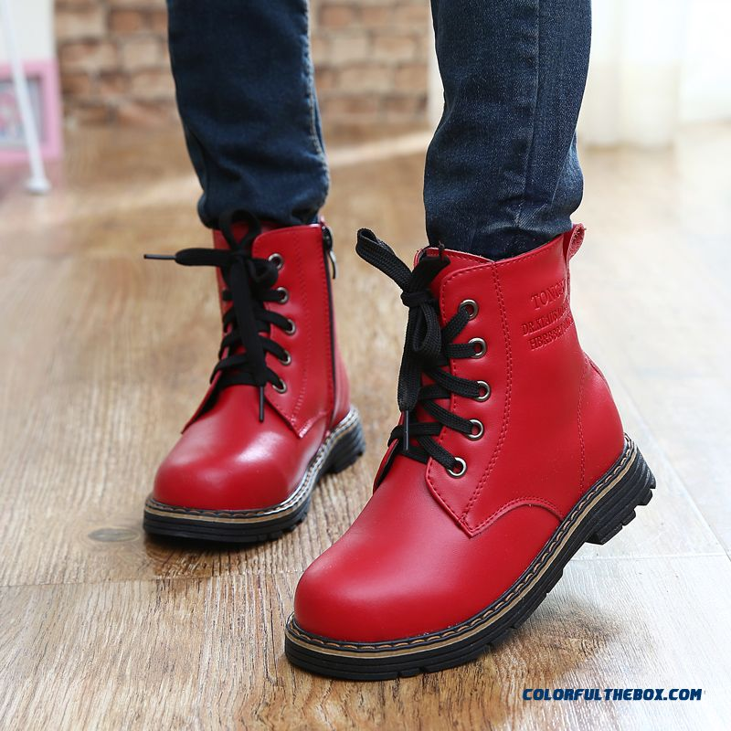 2016 Leather Martin Boots Warm Skid Child Kids First Layer Cowhide Half Boots For Girls