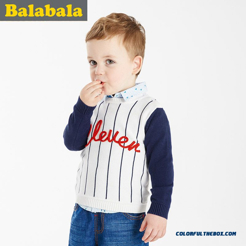 2016 New Brand Balabala Kids Clothing Boy Sweater Baby Hign-quality Comfortable Fabrics White Blue Vertical Stripes Clothing