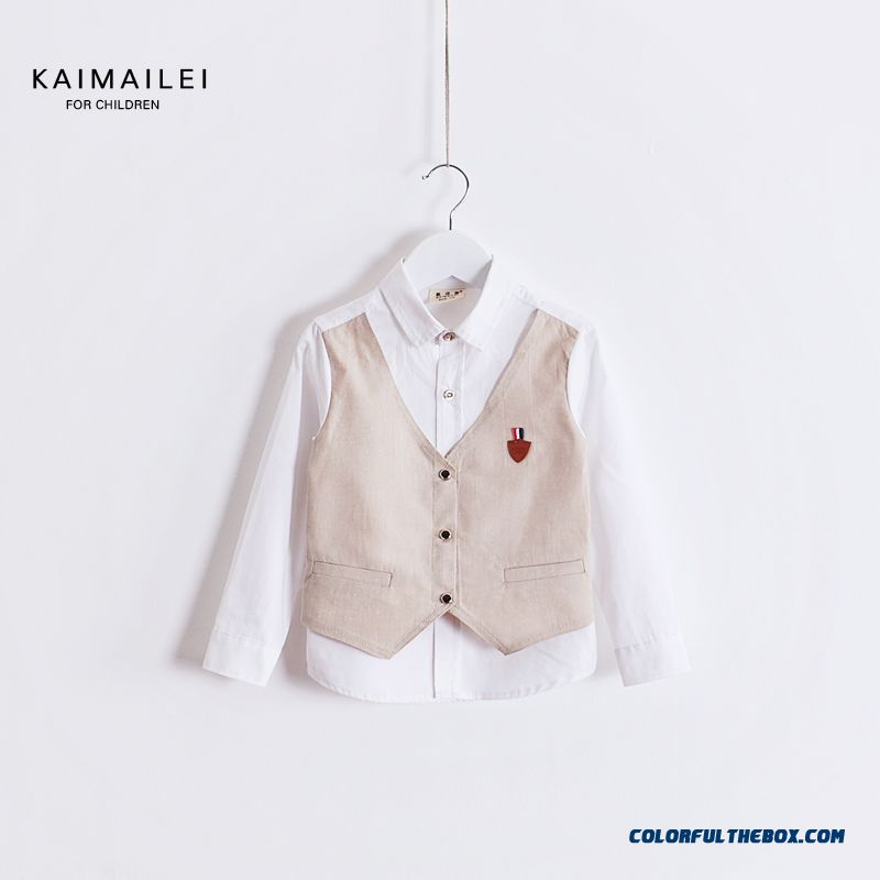 2016 New Children's Clothing Cotton Shirt Boys Long-sleeved Shirt Blouses Vest Fake Two Piece Of Spring Clothing - more images 1