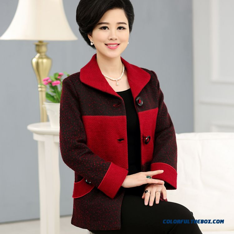 2016 New Genuine Brand Designer 60-70 Years Old Mother Women Clothing Woolen Coat Spring