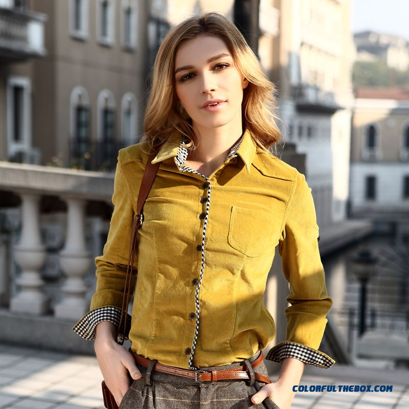 2016 New Genuine Brand Designer Women Retro Cultivating Long-sleeved Cotton Corduroy Shirts Yellow Khaki Navy Blue