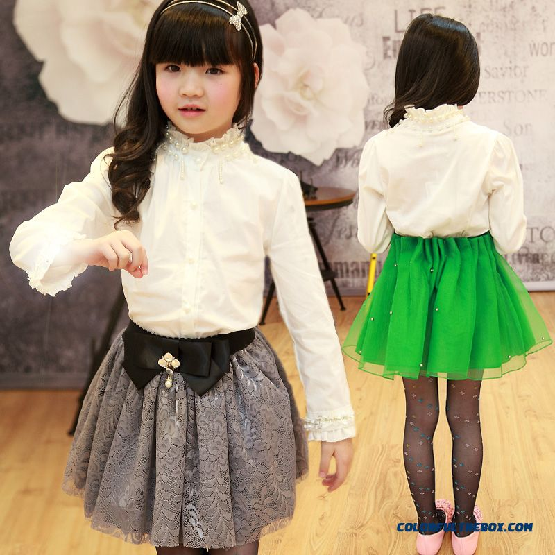 2016 New Kids Clothing For Girls Pearl White Shirt Blouse
