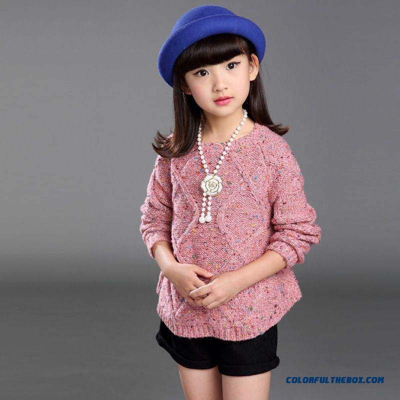 2016 New Korean Fashion Color Blended Yarn Sweater Good Quilted Girls Oink Kids Clothing
