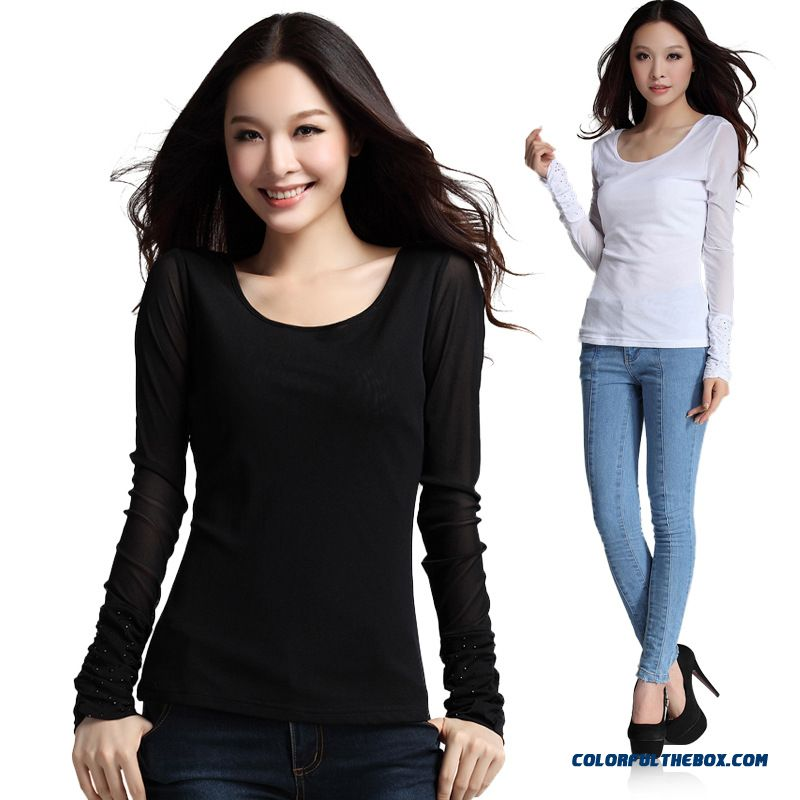 2016 New Spring Round Neck Long-sleeved T-shirt Gauze Hot Fix Rhinestone Smocking Slim Women Bottoming Shirt