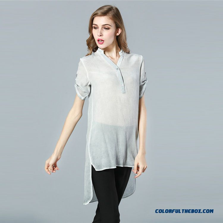 2016 Spring And Summer New Women Ladies Hollow Solid Color Loose Shirts With Belt