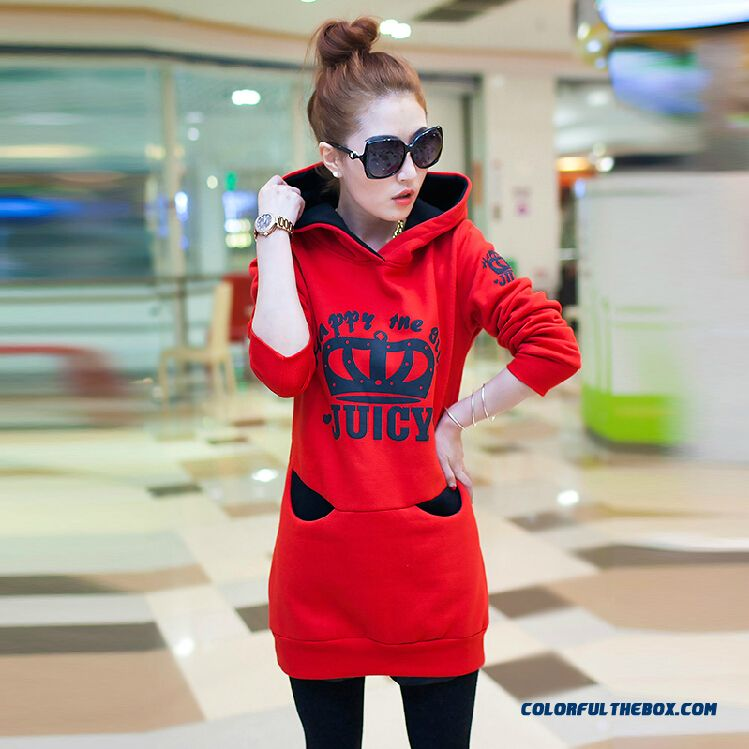 2016 Spring & Autumn New Coat Thickened Velvet Hooded Coat Student Sweatshirts Woman