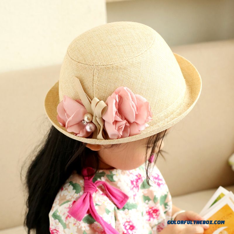 2016 Spring Flowers Hat Crimping Small Top Hat Kids Cap Fluid Systems Fisherman Hat Accessories For Girls