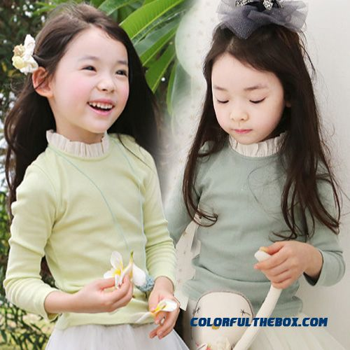 2016 Spring Korean Version New Lace Collar Girls Kids Baby Child Long-sleeved T-shirt