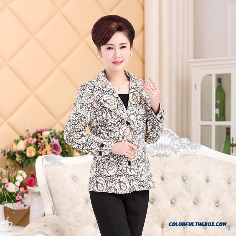 2016 Spring Mother Dclothing Blouses Middle-aged Fashion Coat Slim