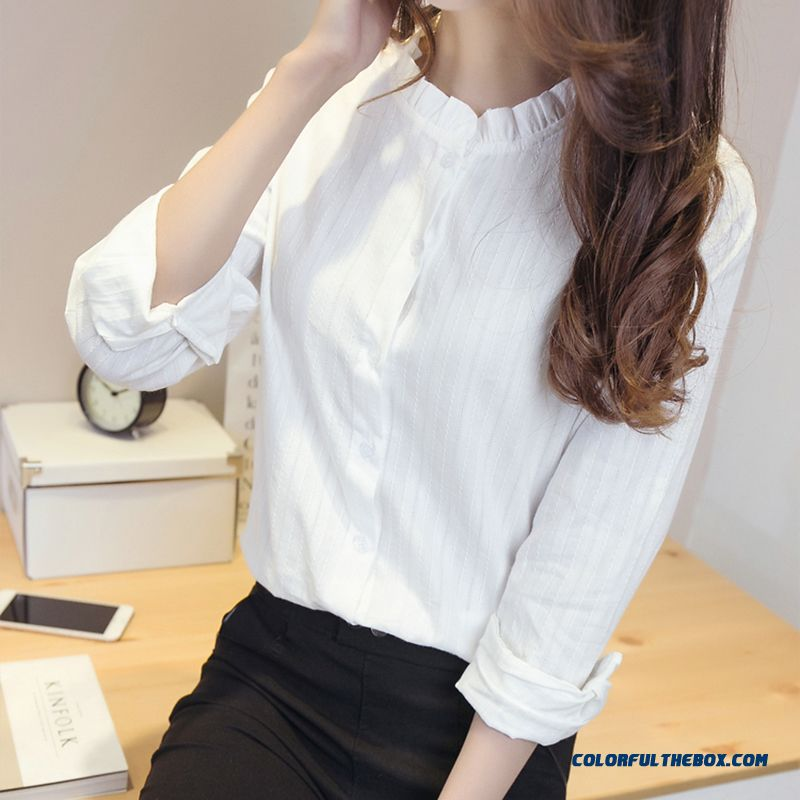 2016 Spring New All-match White Standing Collar Shirts Casual Long-sleeved Women's Blouses