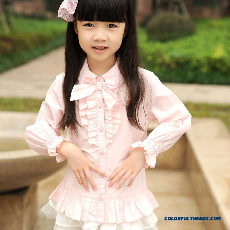 2016 Spring New Female Kids Cardigan 110-140 Yards Children's Lkids Ong-sleeved Cotton Shirt