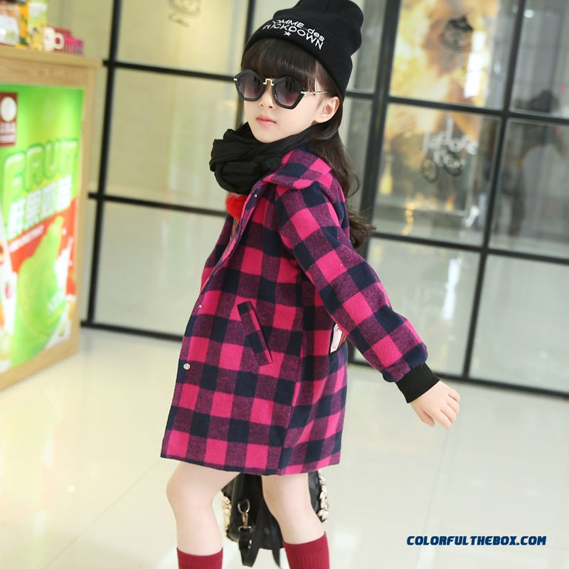 Cheap 2016 Spring New Korean Style Of Fashion Casual Plaid Woolen Coats Chic Kids Clothing Sale