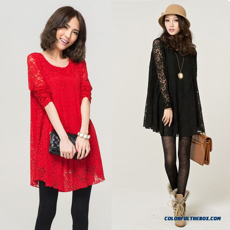 920dded1e3a 2016 Spring New Large Size Lace Dress Korean Style Loose Long-sleeved  Medium-long