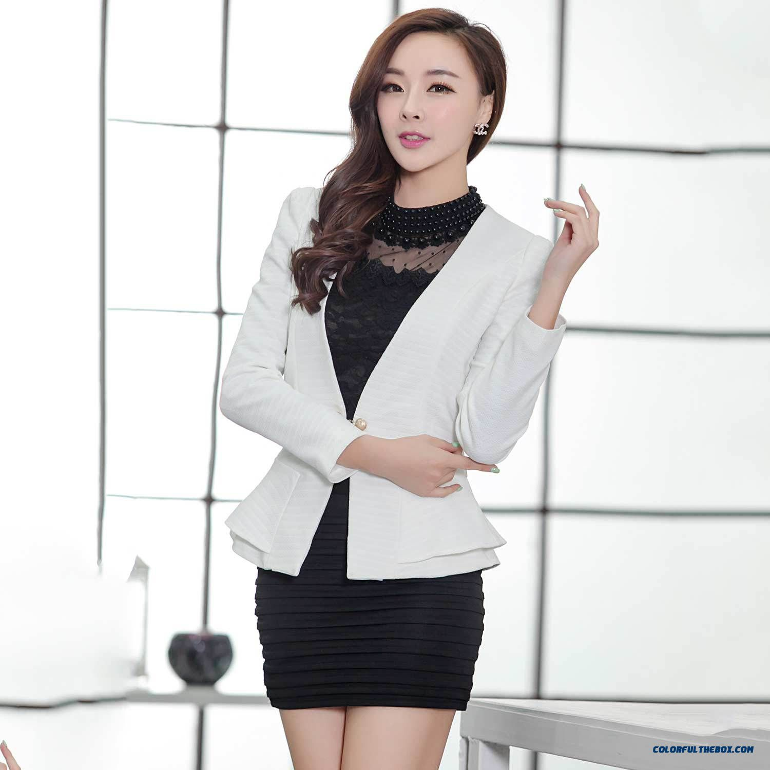 2016 Spring Suit Korean Slim Skirt Hemline Small Suit Two Buckle Chain Design For Women